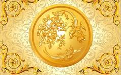 金色花纹图案背景设计