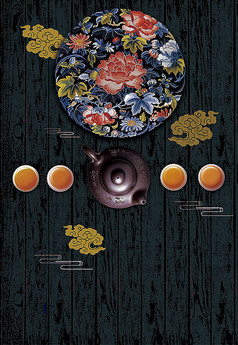 古典花盘红茶海报