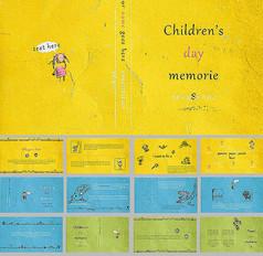欧美卡通黄色记忆儿童节PPT