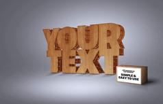 3D木质样式怀旧字体