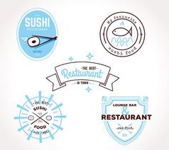 餐饮酒店标签矢量图