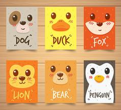 狐狸狗动物卡片矢量素材