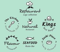 国外餐厅酒店标志矢量图