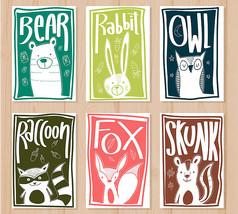 狐狸兔子动物卡片矢量图