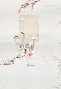 中国风仙鹤艺术背景PSD分层