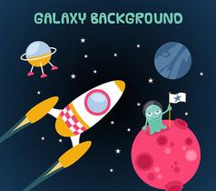 太空星球插画矢量素材