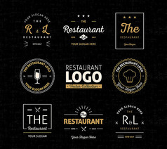 8款抽象餐厅标志设计矢量