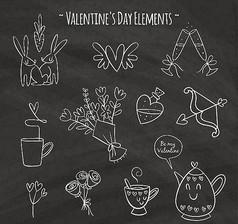 情人節元素黑板畫矢量圖