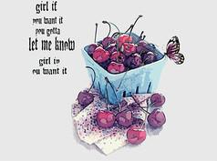 创意手绘樱桃和蝴蝶
