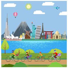 城市风景骑行人物矢量