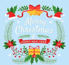 圣诞节铃铛贺卡素材
