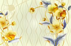 时尚底纹花卉电视背景墙
