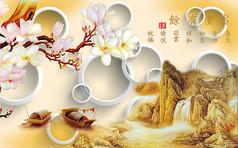 中国古典绘画电视背景墙