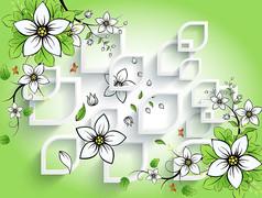 清爽绿调花卉电视背景墙