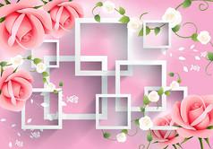 粉调花卉方格电视背景墙图片