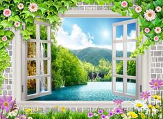 清爽花草木窗山水风景电视背景墙