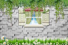 立体砖墙绿色植物背景墙素材