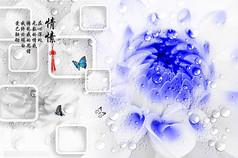 露珠与紫色花朵图片背景素材