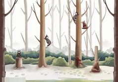 爬树的小熊图片背景素材