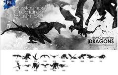 侏罗纪动物恐龙PS笔刷