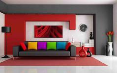 黑红沙发背景墙图片素材