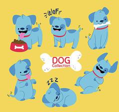 蓝色宠物狗矢量