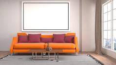 简约橙色沙发客厅效果图