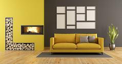 简约黄色沙发壁炉客厅效果图