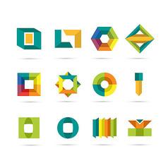 简约彩色立体标志