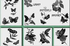 蝴蝶与花朵笔刷
