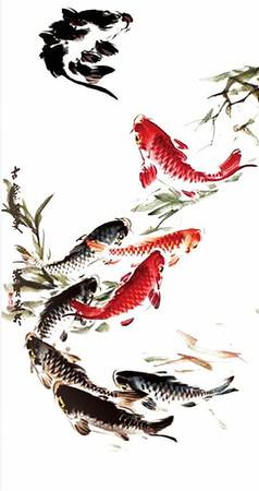 水墨画9鱼图源文件