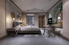 森林风格酒店客房3D模型