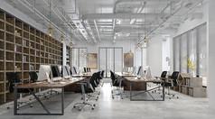 工业风格办公室3D模型素材