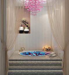 SPA会所包间泡浴区3D模型
