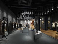 高级灰服装店3D模型素材