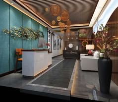 禅意中式酒店门厅3D模型