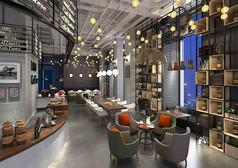 高端工业风咖啡厅3D模型