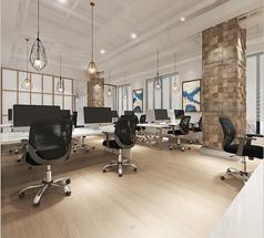 现代风格公共办公室模型素材