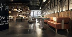 工业风格餐厅设计模型素材