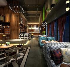 工业风格咖啡厅3D模型素材