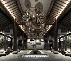 新中式酒店大堂前台3D模型