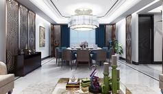 中式风格饭店包间模型素材