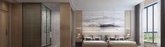新中式酒店客房3D设计素材