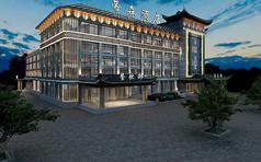 中式酒店外观3D模型素材