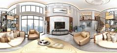 新中式挑空别墅3D模型素材