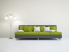 简约绿色沙发落地灯