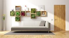 简约绿色植物沙发客厅效果图