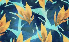 北欧手绘欧式花卉电视背景墙
