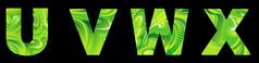 绿色唯美花纹字母免抠字体