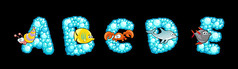 唯美海生物字母免抠素材